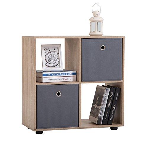CARO-Möbel Raumteiler Cuatro Bücherregal Raumtrenner Regal Würfel Sonoma Eiche mit 4 Fächern