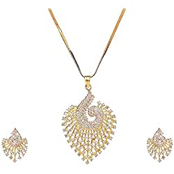 ATTIRE LOCUS American Diamond Gold Plated Peacock Style Made Pendant(18 INCH Chain) with Earring Combo with Jewellery Set Best Occasion for Girls and Women (Design 3)