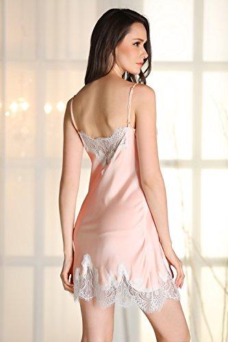 Rainbow Fox 2017 Nouveau été aux femmes vêtement de nuit sexy lingerie Satin pyjamas Pur Couleur pink