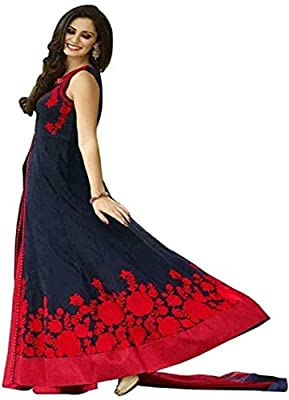 BRIDAL4Fashion woman's Embroidered Semi Stitched Anarkali Gown (Free Size) (Blue)