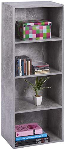 ts-ideen Libreria Mensoliera 106x41 cm Stile Moderno 4 Comparti. Grigio Cemento