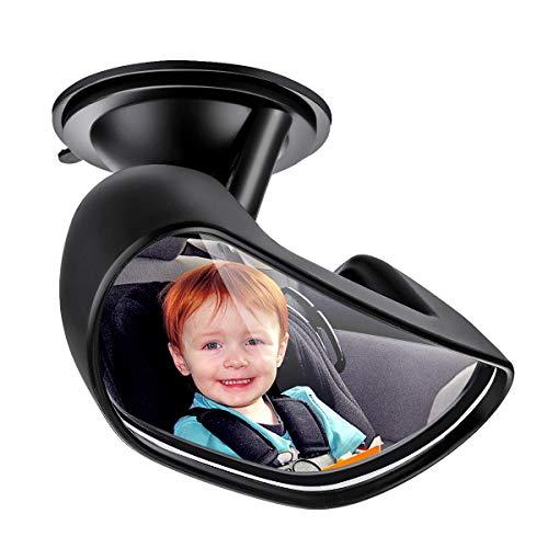 Babyspiegel Auto ELUTO Rücksitzspiegel Auto Rücksitzspiegel Spiegel Baby Obere Spiegel Auto 15cm *10cm großen Winkel Auto Kinder Sorgan Babyschale Bruchsicherer TPU Saugnapf Festgelegt durch Luftdruck