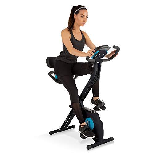 Klarfit Azura Plus 3-in-1 Heimtrainer - Fitnessbike, Fitness-Fahrrad, Cardio-Training, Riemenantrieb, Pulsmesser, Flexible Zugbänder, 8-stufiger Magnetwiderstand, Tablet-Halterung, weiß