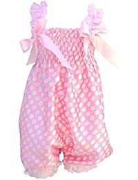 SODIAL(R) Newborn Infant Baby Girl Pink Dot foundation Ruffle Rompers Dress One-Piece Tutu Lace Clothes Bust 32-56cm length 50cm.