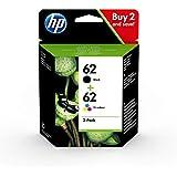 HP 62 N9J71AE Pack d'Une Cartouche Authentique d'Encre pour Imprimantes HP Envy 5540/5640/7640 Noir et Une Cartouche Trois Couleurs