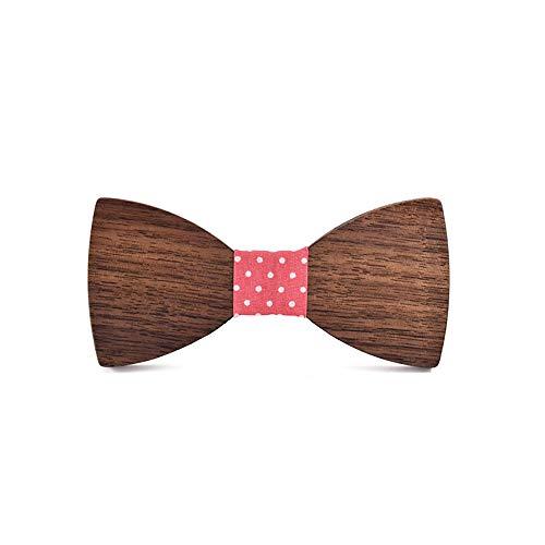 ZSRHH-Neckchiefs Halstücher Herren Holz Fliege Volltonfarbe Kleidung Herren Anzug Krawatte Klassische handgemachte Hochzeit Schmetterling Kostüm (Farbe : Rosa, Größe : 5 * 9.5cm)