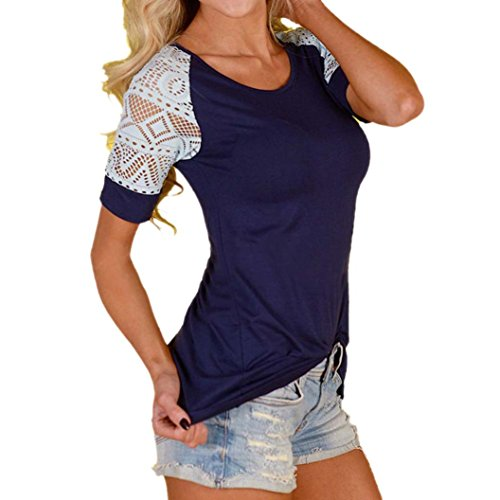 Ouneed® Women Summer Blouse Casual Tops Lace T-Shirt Tee Short Sleeve