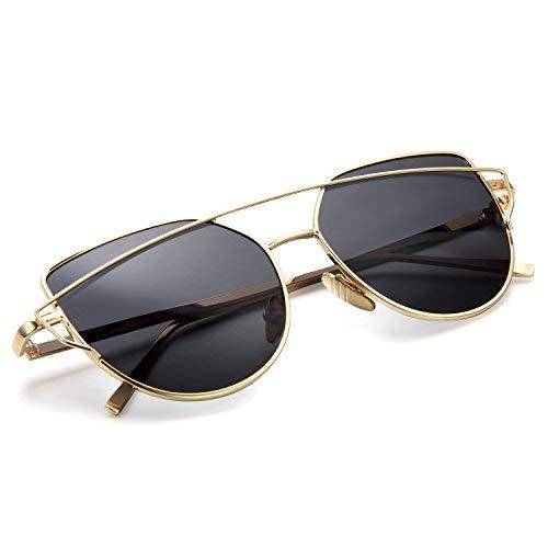 Aroncent Twin-Träger Klassische Frauen Metallrahmen Spiegel Sonnenbrille, Grau