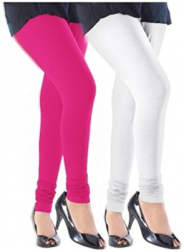 M.G.R.J Women\'s Cotton Lycra Churidar Leggings Combo (Pack of 2 White, Pink ) - Free Size