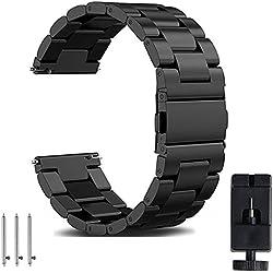 OTOPO Bracelet Galaxy Watch 46mm, 22mm acier inoxydable solide Bracelet de montre bracelet de remplacement pour Samsung Galaxy montre 46 mm Sm-r800 & Ticwatch Pro Smartwatch métal noir
