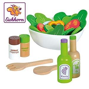 Simba Eichhorn 100003738-Juego para Ensalada con Verduras, Sal y pimentero (, Vinagre y aceitera, Cuenco, de 28Piezas, Madera de Roble, contrachapado