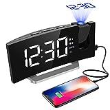 Projektionswecker, Mpow FM Radiowecker mit Projektion, 5'' LED-Anzeige, Digitaler Wecker, Reisewecker, Tischuhr, Dual-Alarm, 6 Helligkeit, 4 Alarmton mit 3 Lautstärke, 9 ' Snooze, Weiß