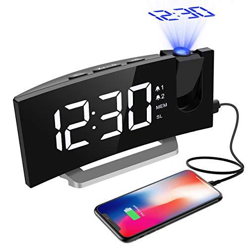 Projektionswecker, Mpow FM Radiowecker mit Projektion, 5\'\' LED-Anzeige, Digitaler Wecker, Reisewecker, Tischuhr, Dual-Alarm, 6 Helligkeit, 4 Alarmton mit 3 Lautstärke, 9 \' Snooze, Weiß