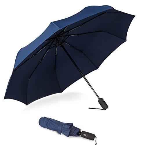 Amazon Marke: Eono Essentials Kompakter Reiseregenschirm Robuster, windfester Regenschirm mit Teflonbeschichtung - Verstärktes Dach, Ergonomischer Griff, Automatisches Öffnen/Schließen Navy (Regenschirm-navy)