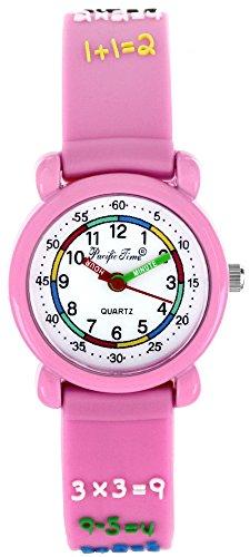 Pacific Time First Kinder-Armbanduhr 1x1 Armbanduhr Kinder Mädchen rechnen Kinderuhren Uhren Zahlen Lernuhr Uhr Kinderarmbanduhr bunte Zeiger Kinderuhr analog Quarz rosa 20555