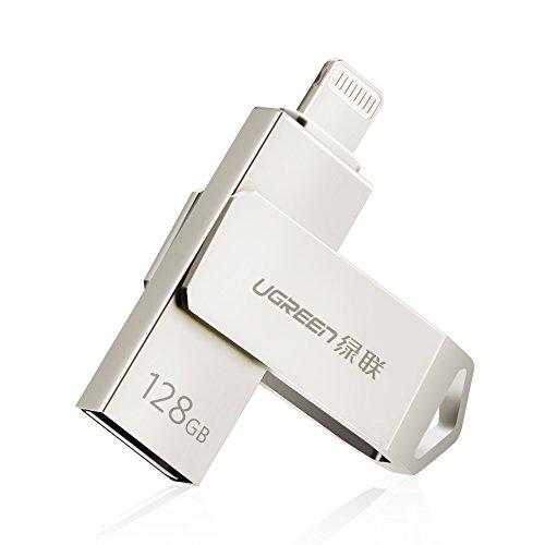 UGREEN USB Stick unterstützt für iPhone Handys 2 IN 1 Flash Laufwerk mit MFI Stecker USB 2.0 Stick geeignet für iPhone 7 7Plus 6s 6 5 5s Plus,iPad Air, iPad Mini, iPod, Mac und PC usw 128GB