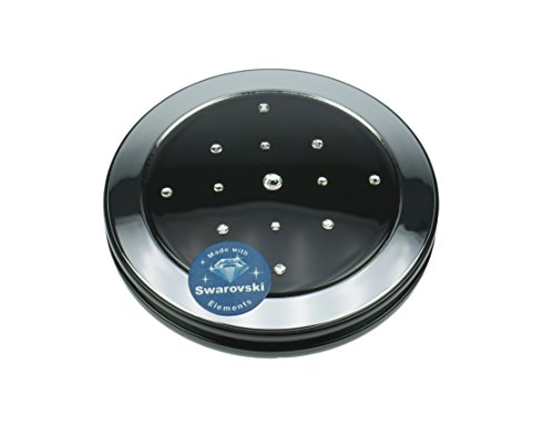 Fantasia Miroir de poche Éclairage LED intégré Piles inclues Rond Noir et argent