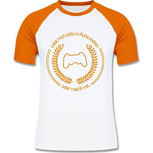 Nerds & Geeks - In Ruhe Zocken - zweifarbiges Baseballshirt für Männer Weiß/Orange