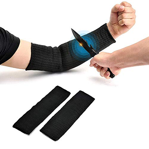 Arteki Arm Protection Sleeve, Cut Resistant Heat Resistant Sleeve, Level 5 Protection, Anti-Cut, Burn, Resistant Steel Wire Armband, Black, 1 Pair -