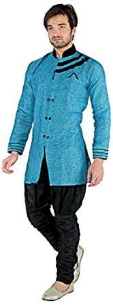 New Looks Men's Linen Kurta Pyjama (NL2335, Turquoise Blue, X-Large)