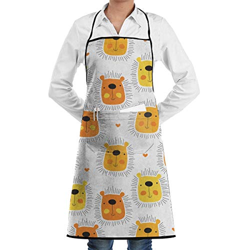 GDESFR Apron with Pock,Novelty Cute Lion Cartoon Pattern Kitchen Chef Apron with Big Pockets - Chef Apron for Cooking,Baking,Crafting,Gardening And BBQ