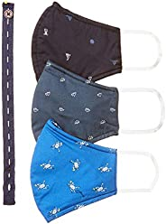 DIVERSE Men's Cotton Cloth Face Mask (Pack of 3) (DCURM01FP03L34-51_Multicolor_Free S