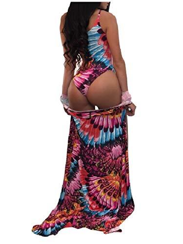 4c209c03a5d CuteRose Womens Full Length Cover up Two Piece Monokini Beach Wear Swimwear  Rose Red S