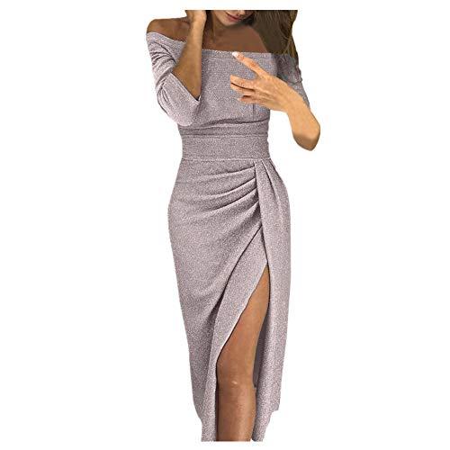 iHENGH Damen Frühling Sommer Rock Bequem Lässig Mode Kleider Frauen Röcke beiläufiges festes Design knöpft halbes Hülsenkleid-Sommerkleid(Beige, S)