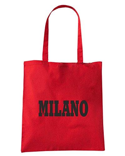 T-Shirtshock - Borsa Shopping WC0906 MILANO ROSSO NERA ITALIA CITTA STEMMA LOGO Rosso