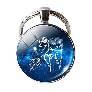 yibenwanligod Single Face Round Glass 12 Constellation Zodiac Sign Pendant Key Ring Keychain for Bag Gift Aries