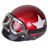 Motorradschutzhelm Schutzhelm rot Halbhelm mit Visierbrille