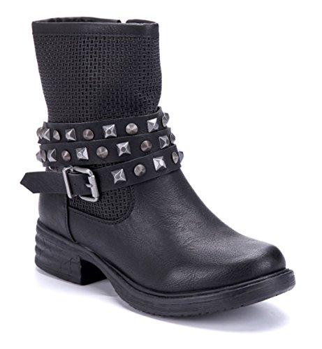 Schuhtempel24 Damen Schuhe Boots Stiefel Stiefeletten Schwarz Blockabsatz Schnalle/Nieten 4 cm