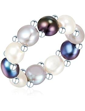 Valero Pearls Classic Collection Damen-Ring Hochwertige Süßwasser-Zuchtperlen in ca.  6 mm Button weiß / hellgrau...