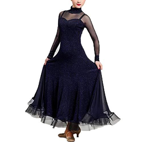 Herbst Winter Vintage Dance Dress Dunkelblau Helle Garn Stoffe Latin Belly Dance Kostüm Lange Ärmel Tango Ballroom Dancing Prom Kleid Plus Größe XL 2XL,M