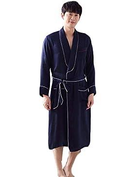 DAFREW Camisón de los hombres de algodón suave pijama a cuadros de ocio largo ropa de casa albornoces cómodo y...