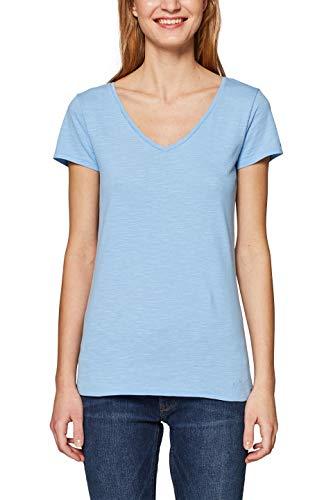 edc by ESPRIT Damen 128CC1K049 T-Shirt, Blau (Light Blue 4 443), Large (Herstellergröße: L) - Light Blue Damen-shirt
