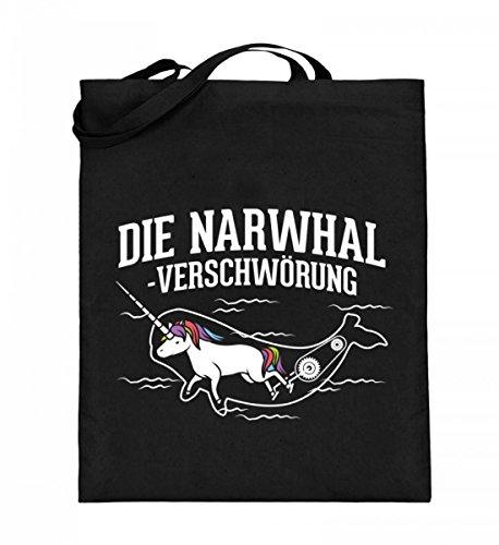 iger Jutebeutel (mit langen Henkeln) - Die Narwhal Verschwörung! ()