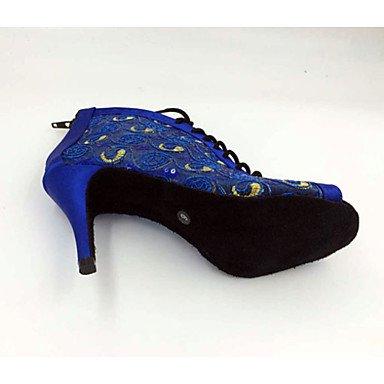 Scarpe da ballo-Personalizzabile-Da donna-Balli latino-americani / Salsa / Samba-A stiletto-Raso-Blu Blue