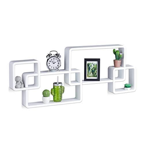 Relaxdays 10021901_49 mensole da muro cube, 4 cubi da parete, design moderno, legno mdf, hxlxp: 42x104x10 cm, bianco