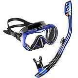 MOVTOTOP Trocken Schnorchelset, Anti-Fog Taucherbrille aus Gehärtetes Glas, Anti-Leck...