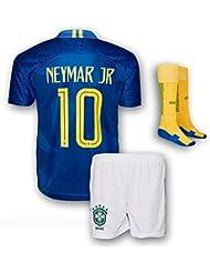 547412bd76f Neymar Jersey Brazil Away  10 Soccer Jersey   Shorts - Youth Football Kits  For Kids