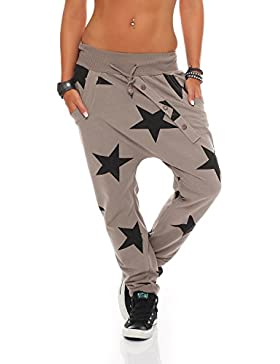 ZARMEXX señoras pantalón holgado de novio con botones pantalones deportivos pantalones de chándal de algodón pantalones...