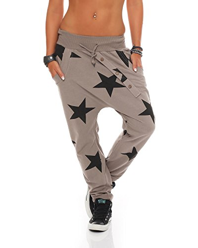 ZARMEXX Damen Sweatpants Baggy Boyfriend mit Knopfleiste Freizeithose Jogginghose Baumwolle Sporthose Yogapants Jogger Loose fit Big Star One Size