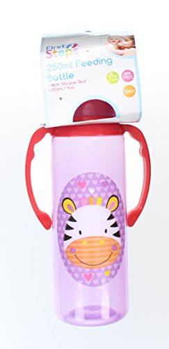 First Steps Jungle Pals Biberon A Poignées Sans BPA 250ml- Zèbre Violet