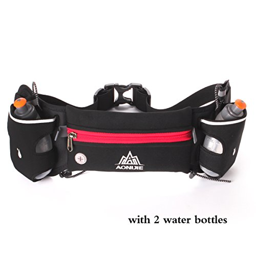 Geila Sport Hydration Running Belt Waterproof Waist Pack with 2 BPA-free Water Bottles for Running Hiking Cycling Climbing (Red)