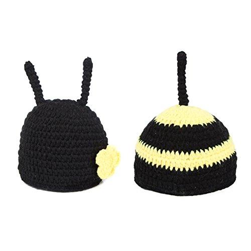 Baby Foto Prop Outfit Kleidung Knit Crochet Fotografie Infant handgefertigt Kostüm Hat Cap Unisex Mädchen Boy Set (Bee) (Baby Bee Kostüme)