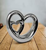 FeinKnick Stilvolles Doppel- Herz zur Dekoration - modernes Dekoherz 21 cm groß in Silber - Deko in Herzform gut als Geschenk-Idee zum Muttertag geeignet - 2