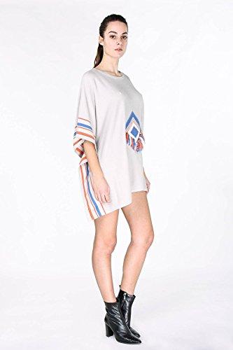 Pull poncho en maille légère bicolore, décolleté en V Barossa - Disponible en 4 couleurs : Rose Marine Gris Beige Gris