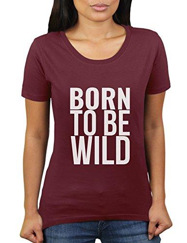 Born to Be Wild - 80er Party Outfit Konzert - Damen T-Shirt von KaterLikoli, Gr. XL, Burgundy