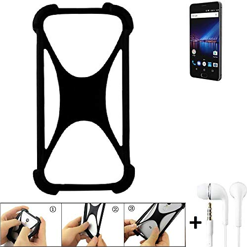 K-S-Trade Handyhülle für Phicomm Passion 4 Schutzhülle Bumper Silikon Schutz Hülle Cover Case Silikoncase Silikonbumper TPU Softcase Smartphone, schwarz (1x), Headphones